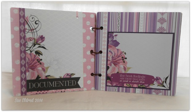 Clear Scraps Purple Album pages 1 and 2