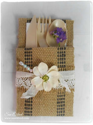 Burlap Utensil Holder 2