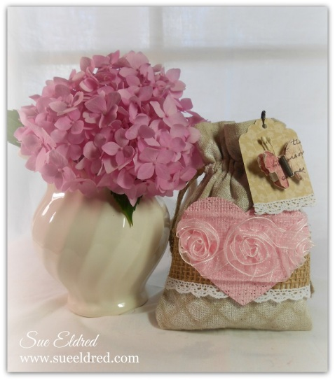 Decorated Muslin Bag w vase