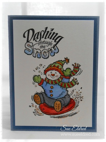 Serendipity Stamps Sledding Snowman