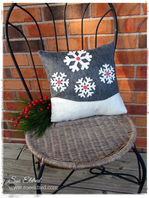 Snowflake pillow outside