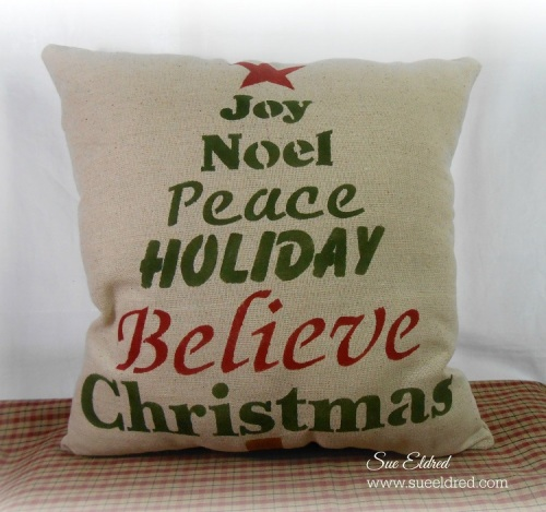 Clear Scraps Stenciled Holiday Pillow