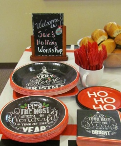 Holiday Workshop plates and sign