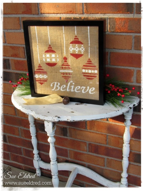 Stenciled Burlap Outside