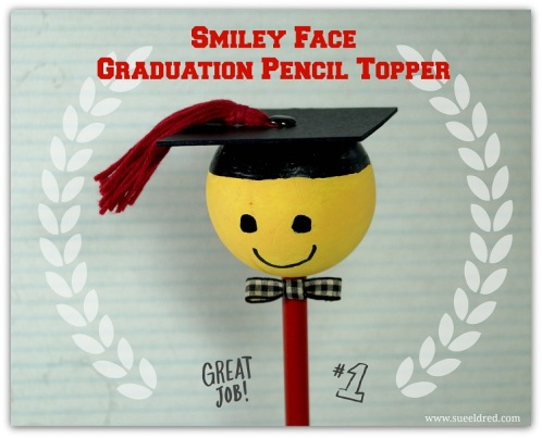 Smiley Face Graduation Pencil Topper