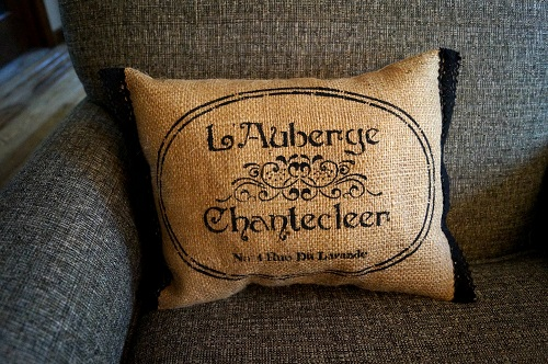 French Inn Stenciled Burlap Pillow