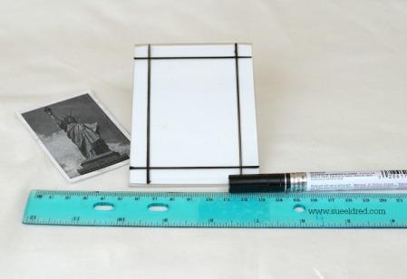 Retrace pencil marks with black paint pen 04111