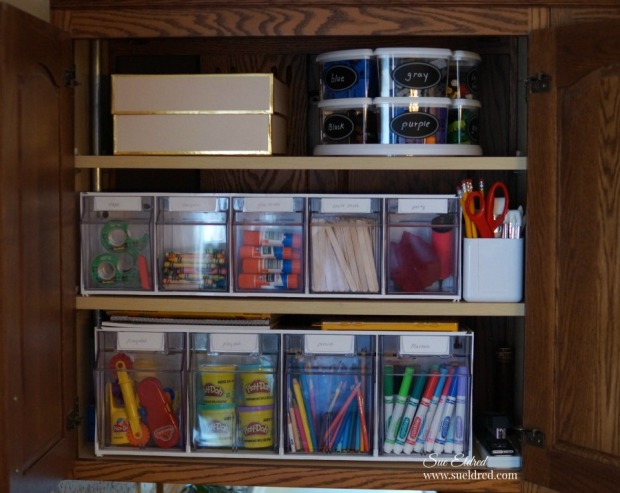 Organizing a kids craft cabinet-Sue's Creative Workshop-www.sueeldred.com 1292