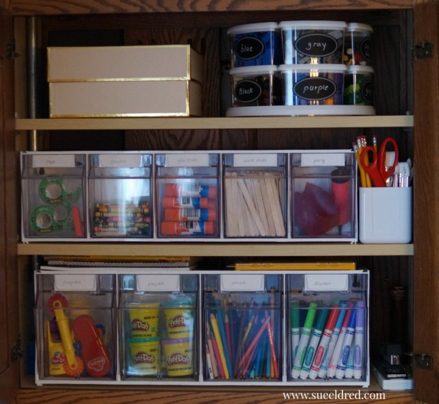 Organizing a Kids Craft Cabinet-Sue's Creative Workshop-www.sueeldred.com 1294