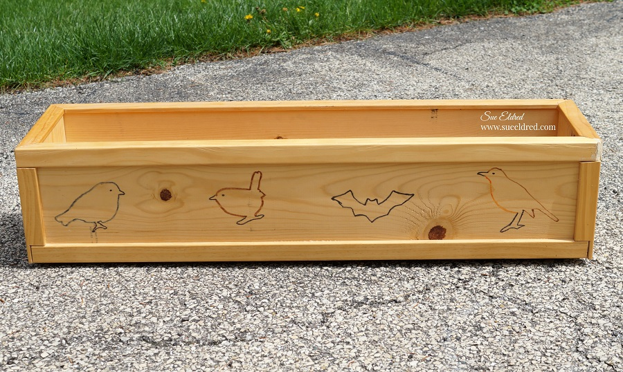 Stenciled Wood Planter Box