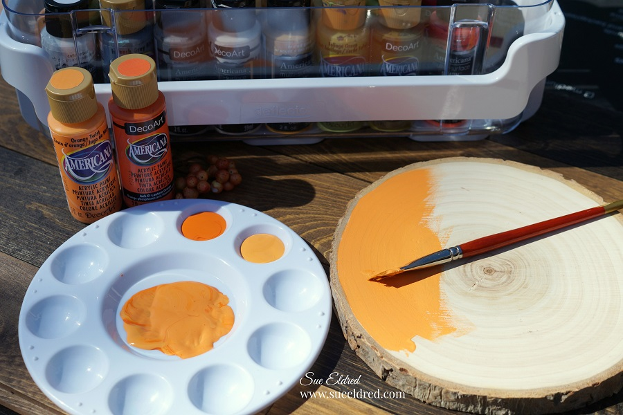 Buffalo Plaid Wood Slice Pumpkin