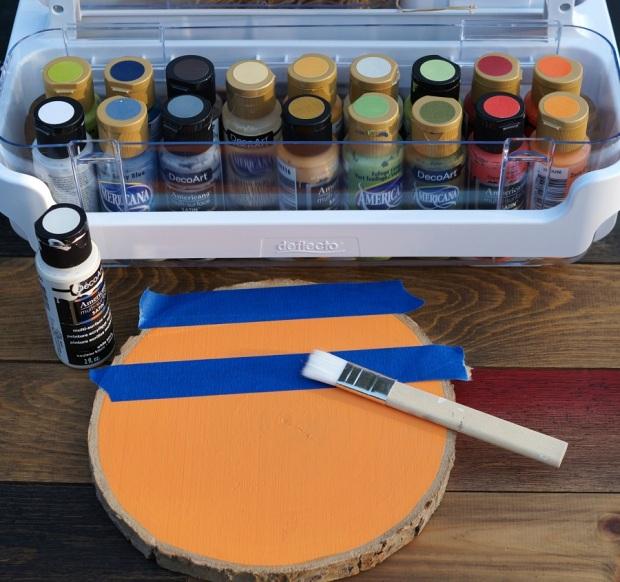 How to make a Buffalo Plaid Wood Slice Pumpkin