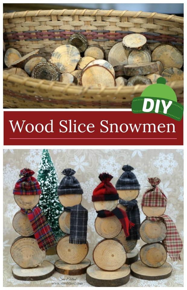 DIY Wood Slice Snowmen
