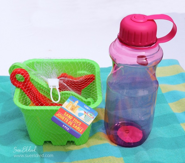 Dollar Tree Sand Toys and Water Bottle