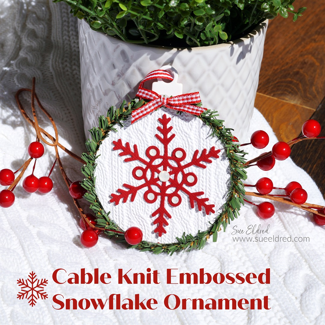 Cable Knit Embossed Snowflake Ornament