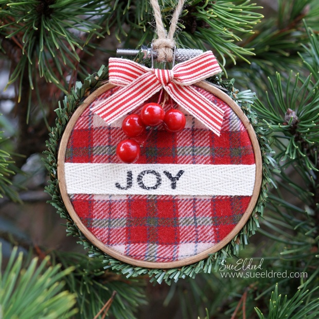 Red Plaid Embroidery Hoop Ornament