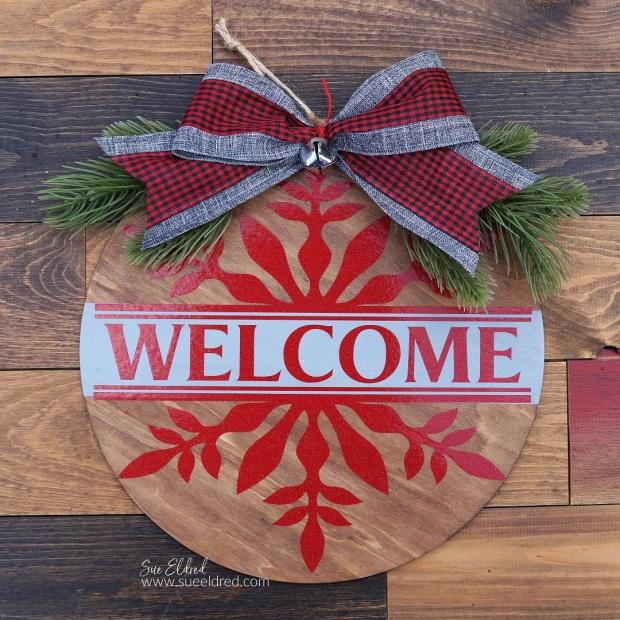 """Red Snowflake Welcome 10"""" Wood Door Hanger"""