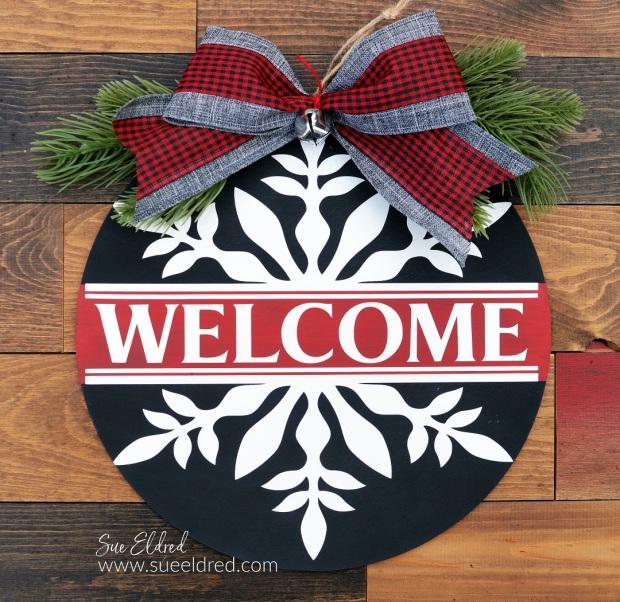 White Snowflake Welcome Wood Door Hanger